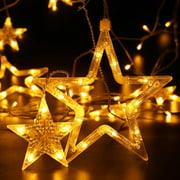 qedertek curtain string lights 138 led 82ft star linkable 6 small 6 big - Star Lights Christmas