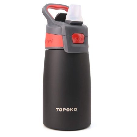 TOPOKO AUTO FLIP 12 OZ Stainless Steel Kids Water Bottle for Girls Double Wall Beverage Carry Kid Cup Vacuum Insulated Leak Proof Thermos Handle Spout BPA-Free Sports Bottle for Kids Leak Proof Backpack Bottle