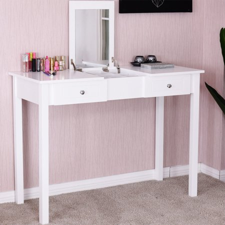 Costway Vanity Table Dressing Table Flip Top Desk Mirror 2 Drawers Furniture White