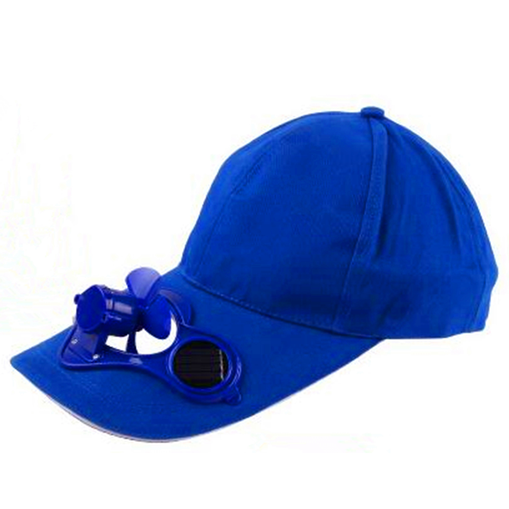Unisex Peaked Cap Summer Baseball Hat with Solar Powered Fan Cooling Fan Cap for Camping Traveling Outdoor Activities Color:Blue