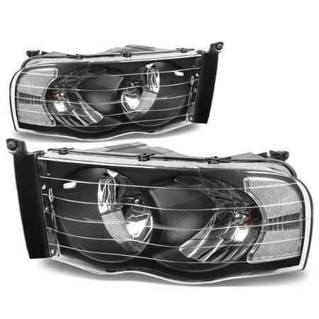 For 2002 to 2005 Dodge Ram Truck 1500 / 2500 / 3500 Black Housing Clear Corner Headlight Headlamp 3rd Gen 03 04