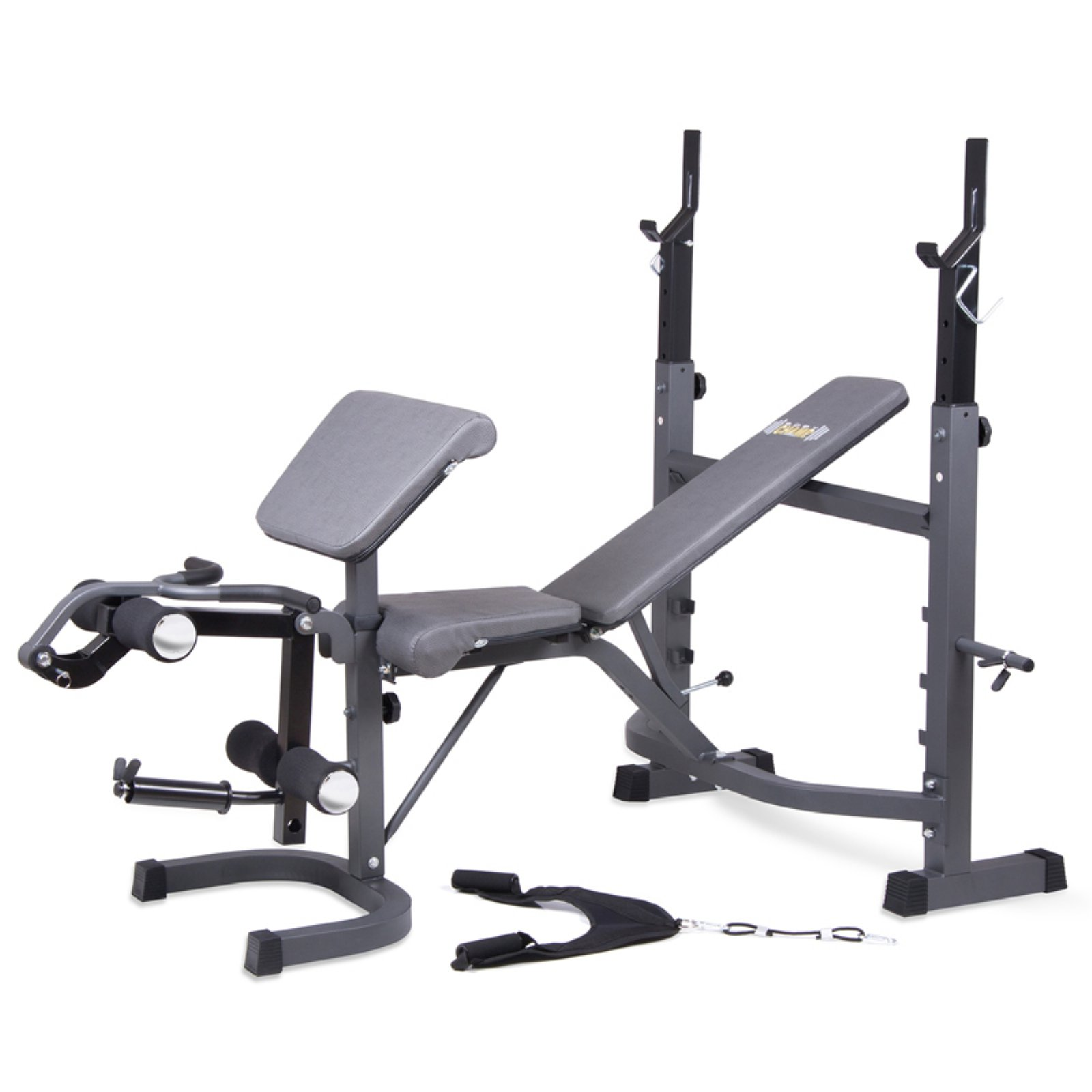 Body Champ® Olympic Weight Bench with Preacher Arm Curl, Leg Extension / Curl and Crunch Handle Attachments BCB5860