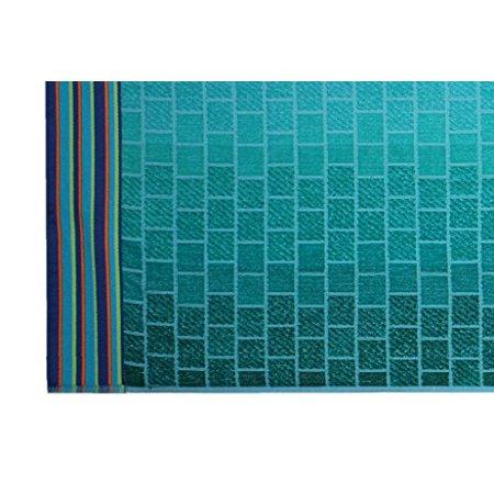 Cotton Craft - Oversized Jacquard Double Woven Velour Beach Towel 39x68 - Tile Blue Teal - Thick Plush Luxurious Velour Pile - 450 GSM - 100% Pure Ringspun Cotton - Brilliant Intense Vibrant Colors - image 1 de 3