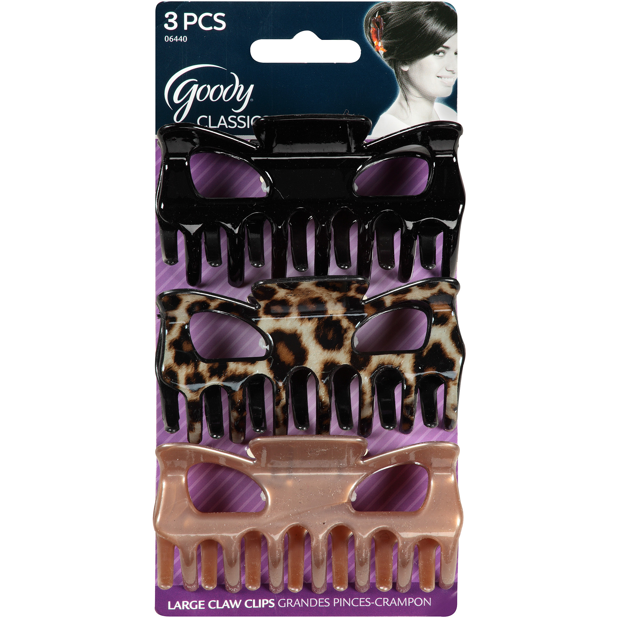 Goody Classics Large Claw Clips, 06440, 3 count