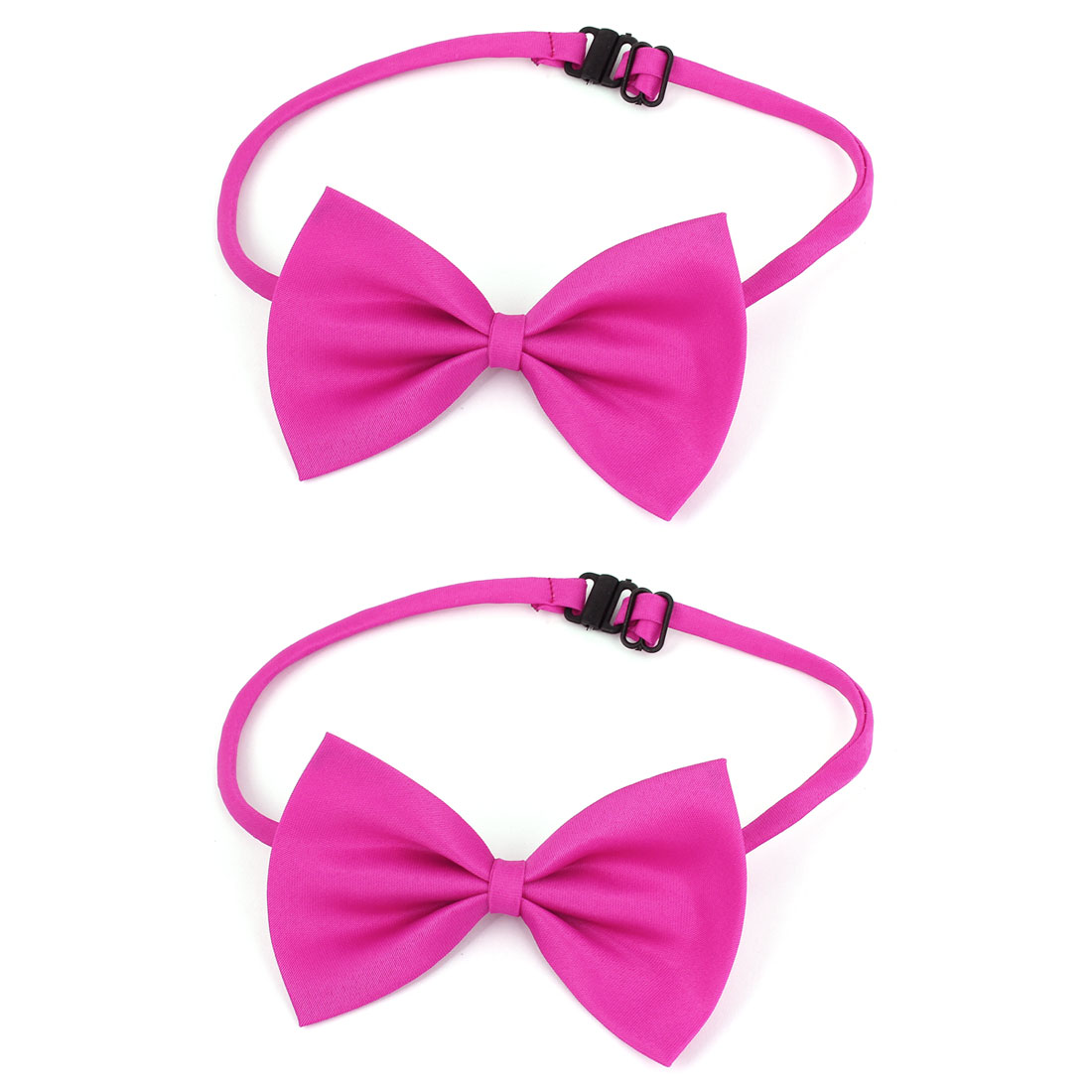 Unique Bargains Cat Dog Puppy Pet Adjustable Collar Clothes Bowtie Bow Tie Necktie Fuchsia 2 Pcs