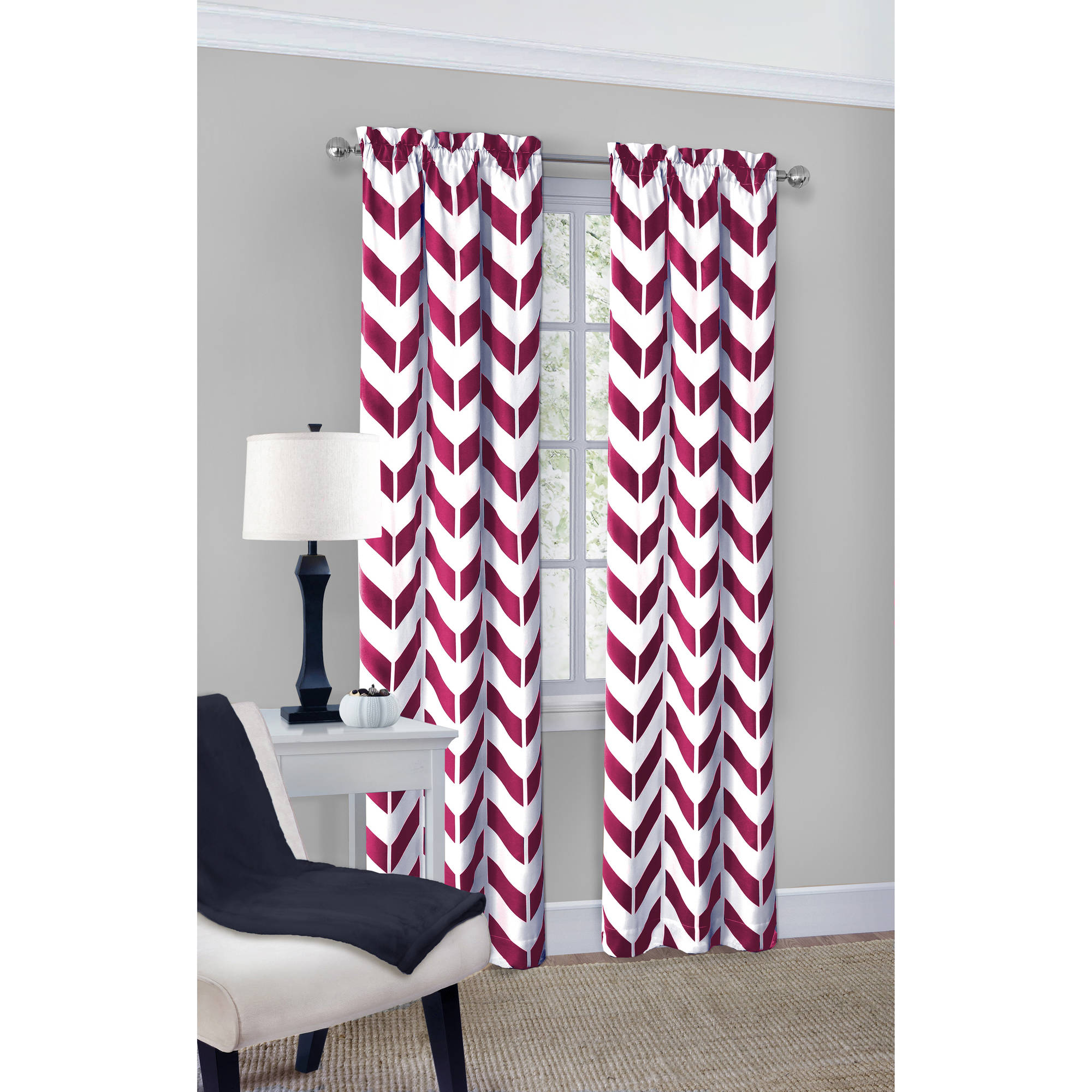 Living Room Curtains At Walmart Mainstays Chevron Curtain With Bonus Panel Set Of 2 Walmartcom