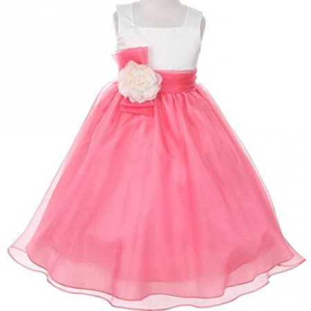 Green Dresses For Little Girls (BNY Corner Flower Girl Dress Two-Tone Ivory Top Mix Organza for Little Girl Coral 10)