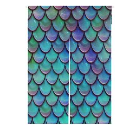 GCKG Fish Scales Purple Blue Doorway Curtain Japanese Noren Curtains Door Curtain Entrance Curtain Size 85x120cm (Scale Window)