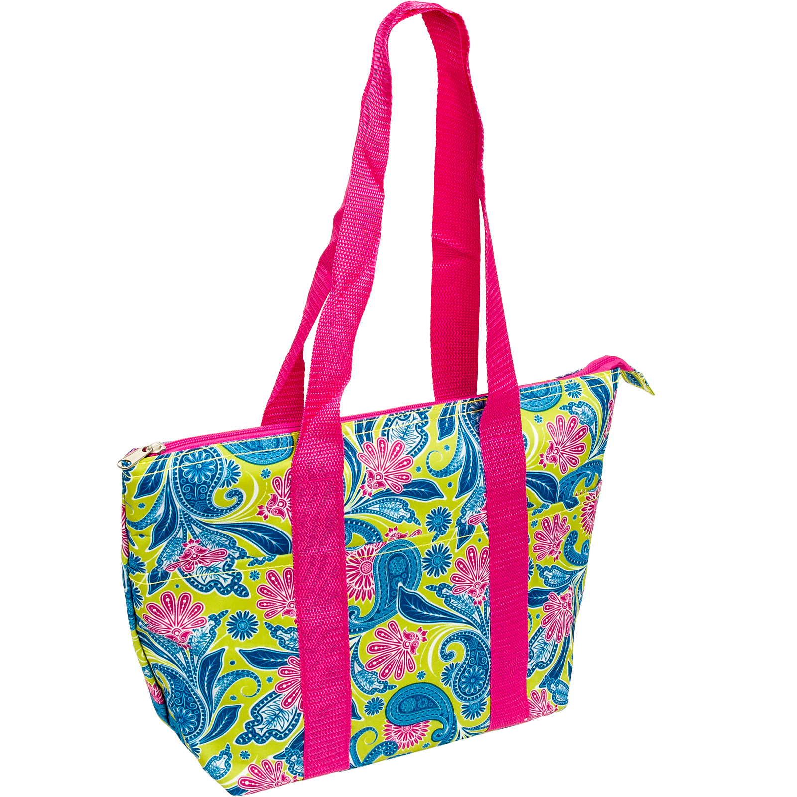 SilverHooks Nylon Insulated Lunch Tote Bag (Green/Pink/Blue Paisley Floral) - Walmart.com