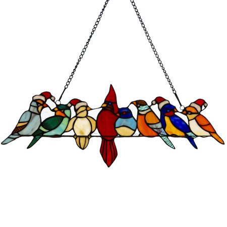 River of Goods Santa Birds on Wire Stained Glass Window Panel Audubon Birds Stained Glass