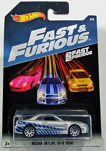 Hot Wheels 2017 Fast And Furious Nissan Skyline Gt R R34 Silver Blue 2 Fast 2 Furious 2 8 Walmart Canada