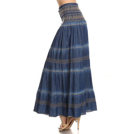 fashion2love  fit and flare tiered layers denim skirt or