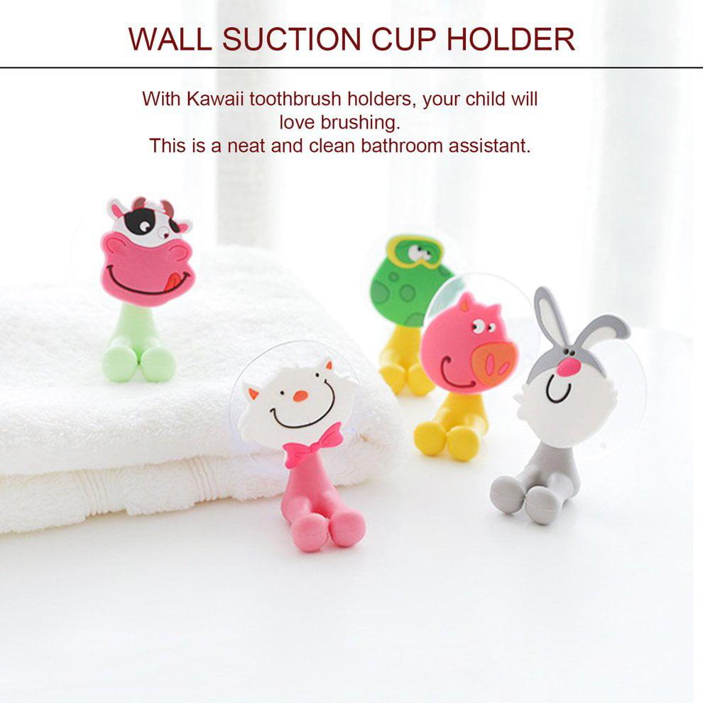 Animal Toothbrush Wall Holder Suction Cup Cartoon Sucker Bathroom Storage LI