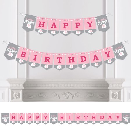 Pink Elephant - Girl Birthday Party Bunting Banner - Birthday Party Decorations - Happy Birthday