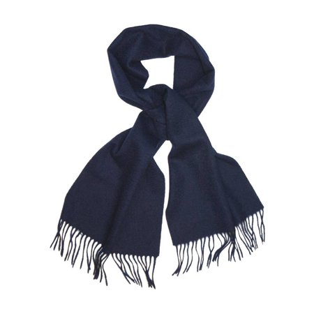 Mist Wool Scarf - Biagio 100% Wool NECK Scarf Solid NAVY BLUE Color Scarve for Men or Women