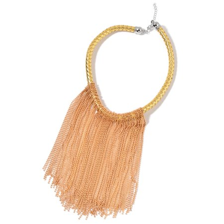 Goldtone and Silvertone Fringe Choker on Faux Leather Braided Strand 18 in