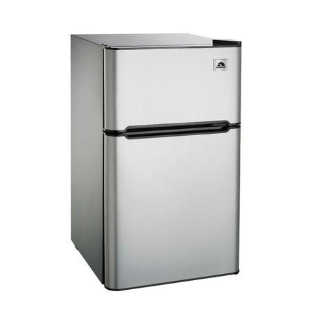 refrigerator and freezer. igloo 3.2 cu ft two door refrigerator and freezer, stainless steel freezer o