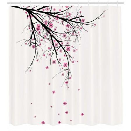Nature Shower Curtain Cherry Blossoming Falling Petals Flowers Springtime Park Simple Illustration Print Fabric