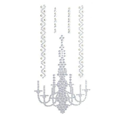 Chandelier Gem Art Pearl Craft 3D Stickers, Silver, - Jewels 3 D Sticker