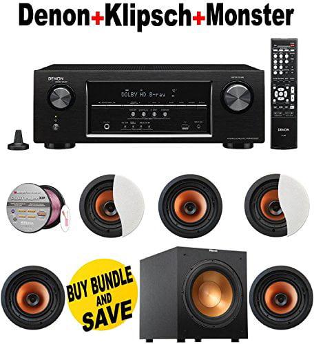 Denon AVR-S500BT 5.2 Channel Full 4K Ultra HD A/V Receiver with Bluetooth + 5 Klipsch - CDT5800CII + Klipsch - R12SW +