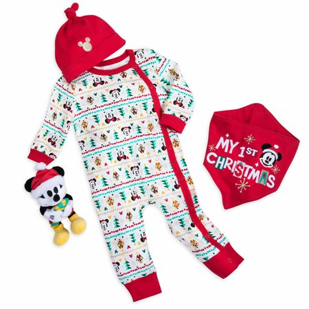 Disney Store Mickey My First Christmas Baby Boy Girl Romper Gift Set Size 18-24M