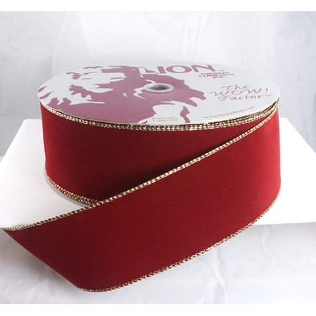 Wired Brick Red with Gold Edges Velvet Christmas Ribbon 2 1/2