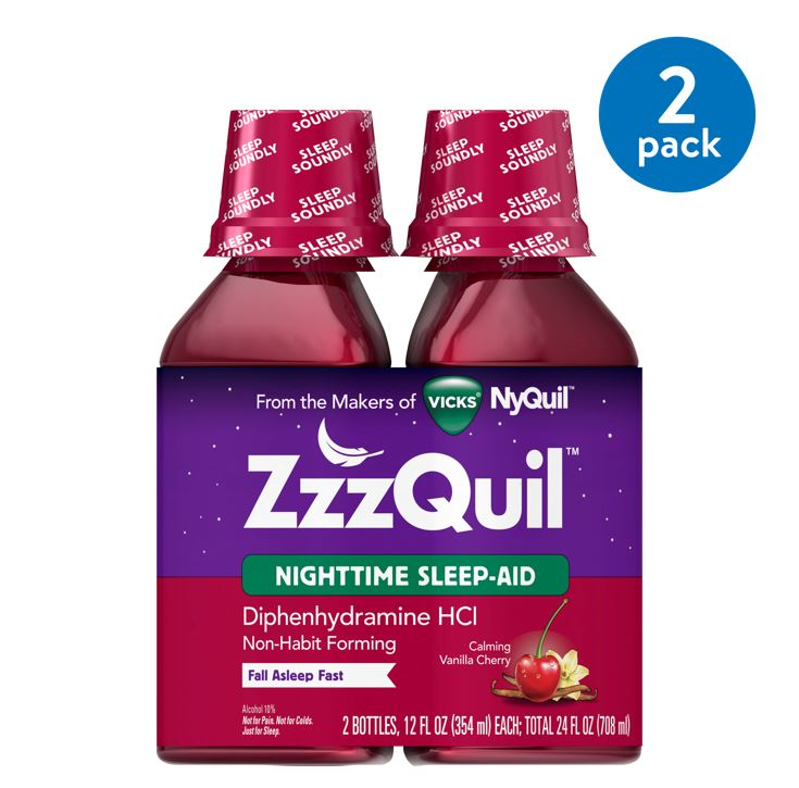 Vicks ZzzQuil Nighttime Sleep Aid, Calming Vanilla Cherry Liquid, 2x12 oz
