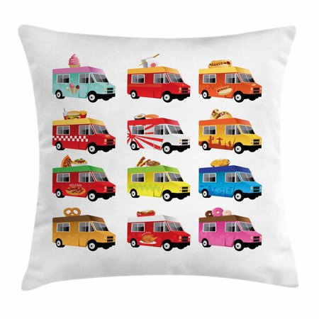 Truck Throw Pillow Cushion Cover, Ice Cream Asian Doughnut Burgers Pizza Sushi Hotdog Colorful Food Truck Illustration, Decorative Square Accent Pillow Case, 18 X 18 Inches, Multicolor, by Ambesonne