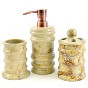 Nature Home Decor Bengal Sahara Beige Marble 3-Piece Bathroom Accessory Set