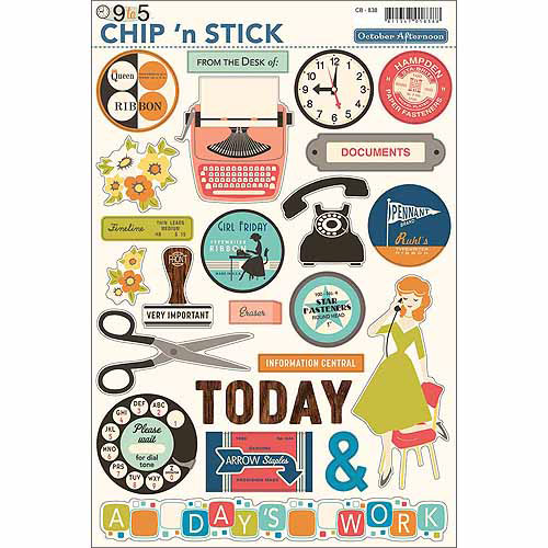 "October Afternoon 9 To 5 Chip 'n Stick Chipboard Stickers, 8"" x 12"" Sheet, Variety"