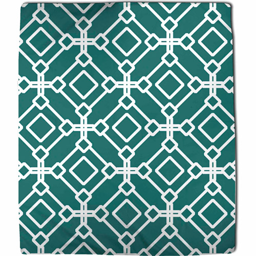 MOD Home Modern Geometric Coral Fleece Throw, Emerald