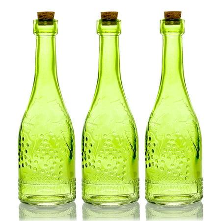 BULK PACK (3) Stella Green Vintage Glass Bottle Wedding Flower Vase