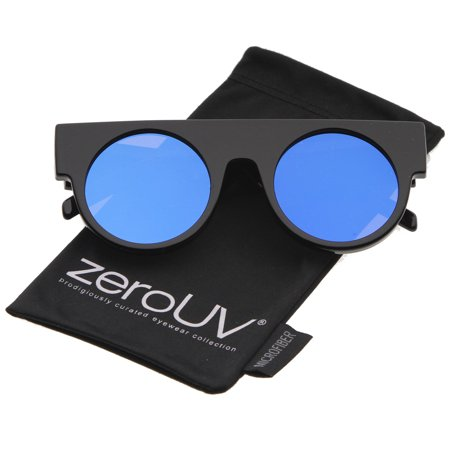 zeroUV - Futuristic Geometric Flat Top Color Mirrored Flat Lens Round Sunglasses - (Flat Top Lenses)
