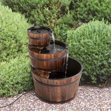 Kinbor 3-Tier Wood Barrel Waterfall Fountain with Pump Outdoor Garden Rustic ()