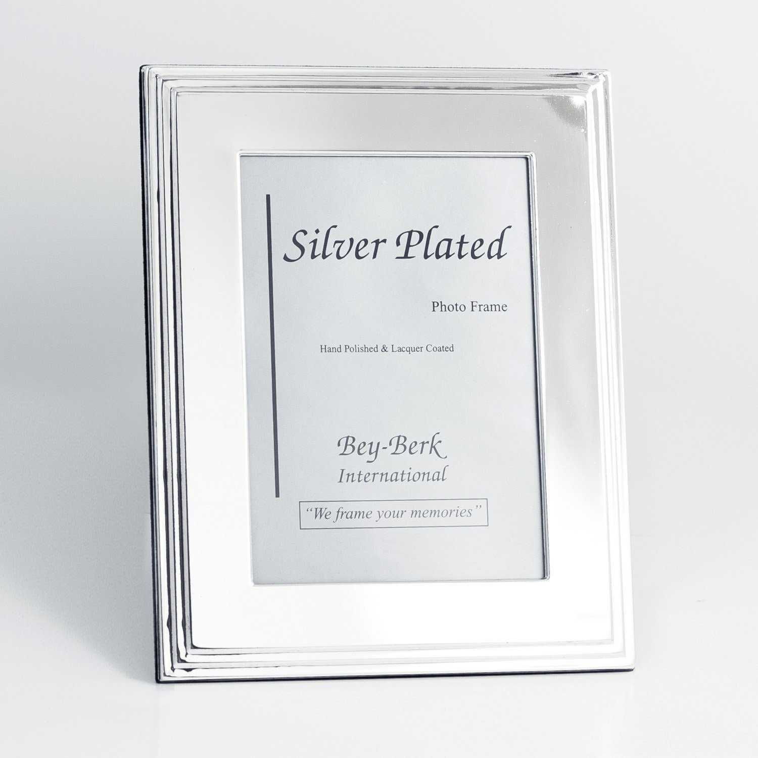 Bey-Berk Silver-Plated Tiered Edge 5 x 7 in. Photo Frame - Tarnish Proof