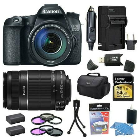 Canon EOS 70D 20.2 MP CMOS Digital SLR Camera and EF-S 18-135mm 64GB Bundle