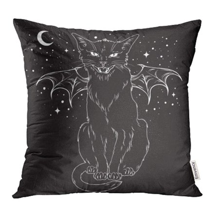 YWOTA Creepy Black Cat with Monster Wings Over Night Sky with Moon and Stars Wiccan Pillow Cases Cushion Cover 20x20 inch