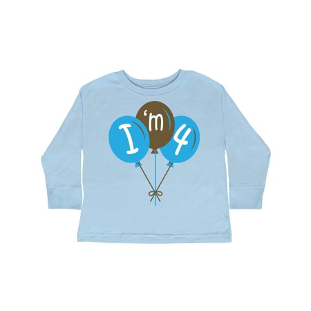 0213bb82 Inktastic - 4th Birthday Blue Balloon 4 Year Old Toddler Long Sleeve T-Shirt  - Walmart.com