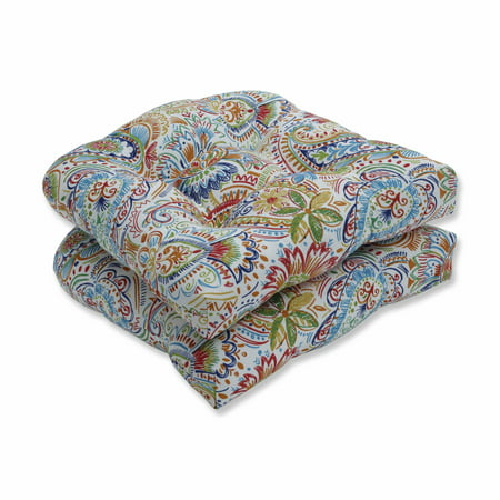 Colored Seat - Set of 2 Vibrantly Colored Paisley Pattern Outdoor Patio Wicker Seat Cushions 19