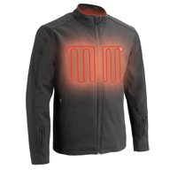 Men's Zipper Front Heated Soft Shell Jacket w/ Front & Back Heating Elements includes portable battery pack