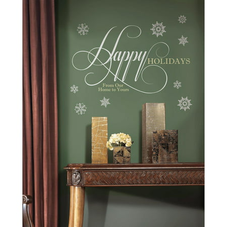 Happy holidays quote peel and stick giant wall decals with for Paintable peel n stick wallpaper