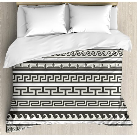 Abstract Duvet Cover Set, Tribal Design Ethnic Chevron Stripes Native Linear Ornate Pattern, Decorative Bedding Set with Pillow Shams, Army Green Cream White, by Ambesonne ()