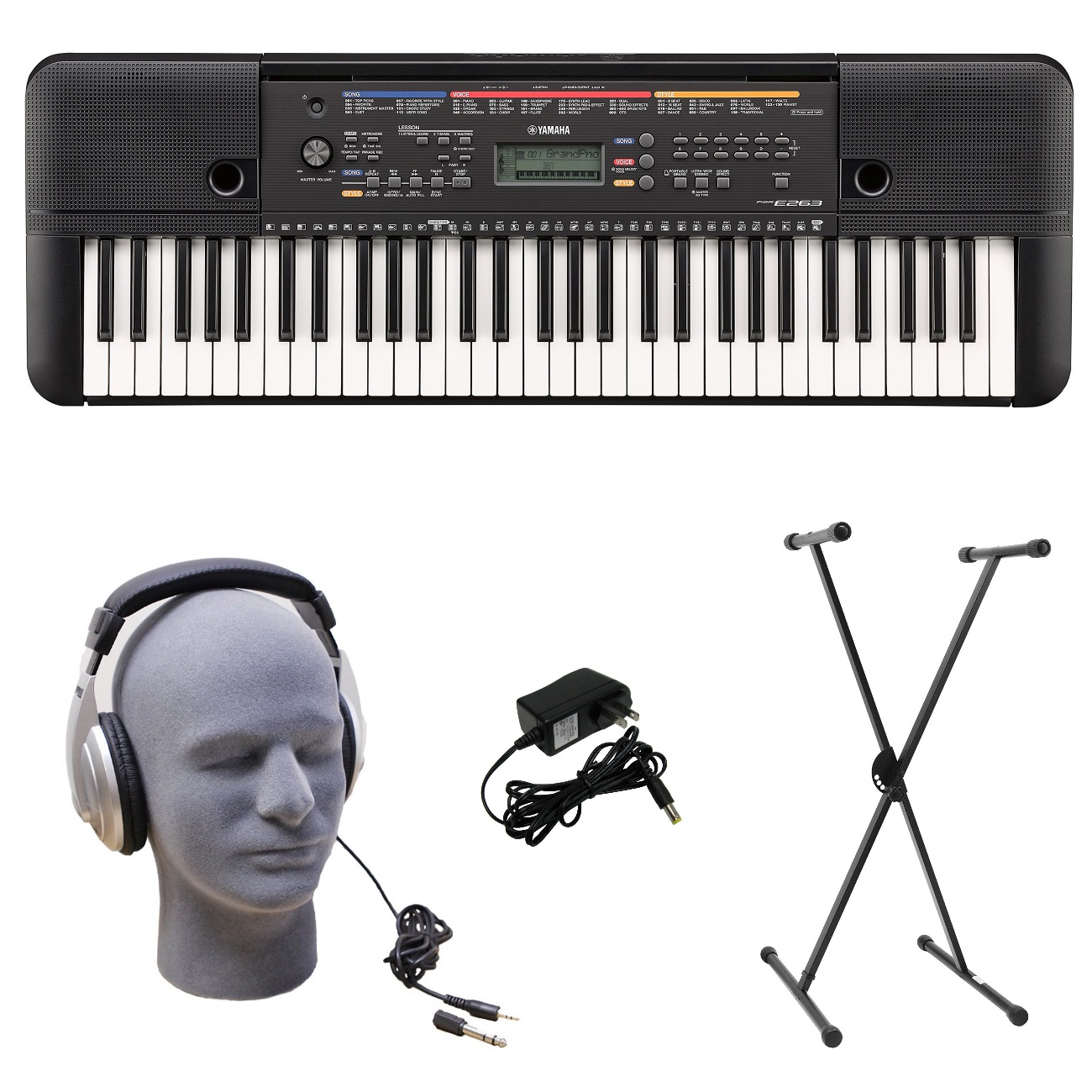 Click here to buy Yamaha PSR-E263 PKS 61-Key Premium Keyboard Pack with Stand, Headphones & Power Supply by Yamaha.