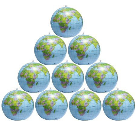 15 Inch(38CM) Inflatable Globe Beach Ball PVC Inflatable Earth World Ball Toy for Kids Children Playing or Geography Education Teaching, 2/4/6/8/10PACK