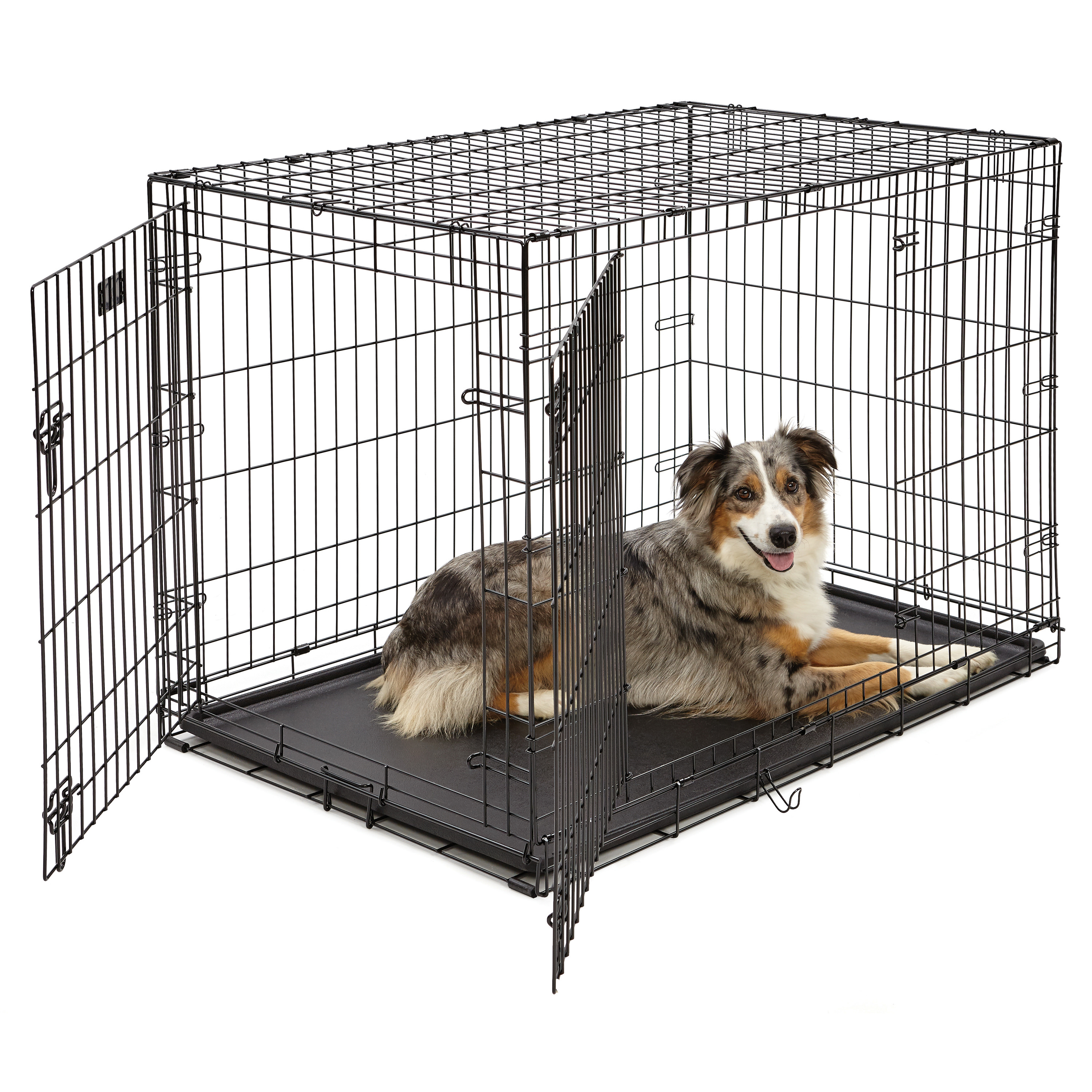 Double Door iCrate Metal Dog Crate, 42-Inch, Black