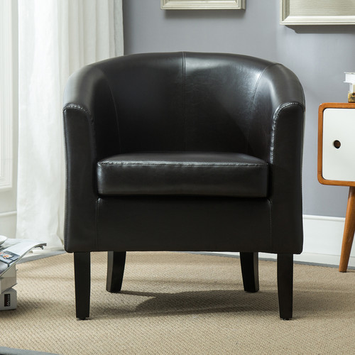 belleze club chair tub faux leather armchair seat accent white