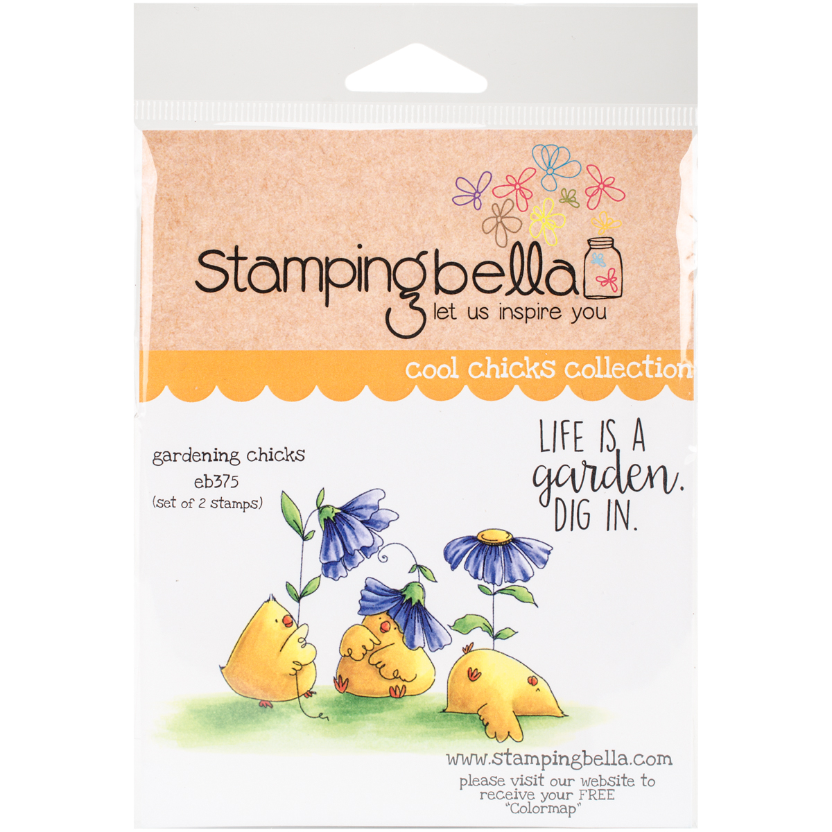 "Stamping Bella Cling Stamp 6.5""X4.5""-Gardening Chicks"