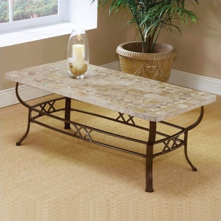 Hilale Brookside Ivory Coffee Table With Fossil Stone Top