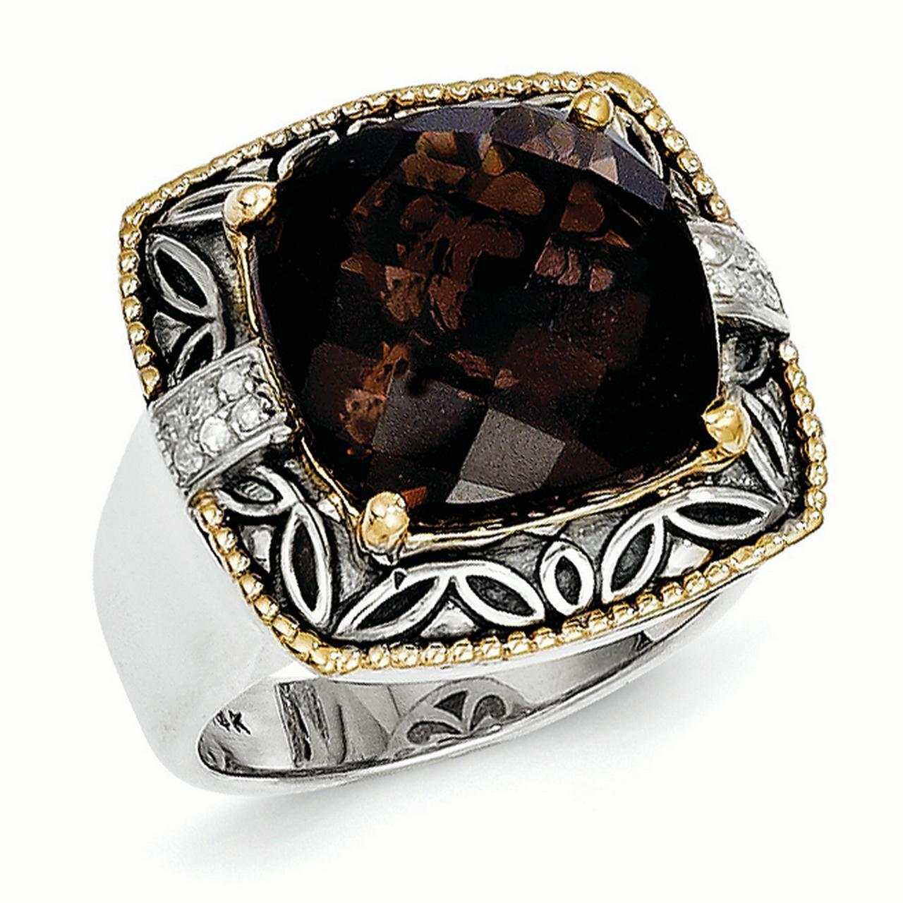 Sterling Silver Two Tone Silver And Gold Plated Sterling Silver w/Smoky Quartz & Diamond Ring - image 3 de 3