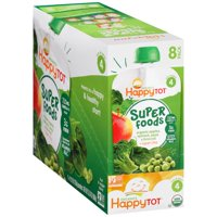 (8 Pouches) Happy Tots Organic Superfood, Broccoli, Spinach, Pea & Apple, 4.22 oz
